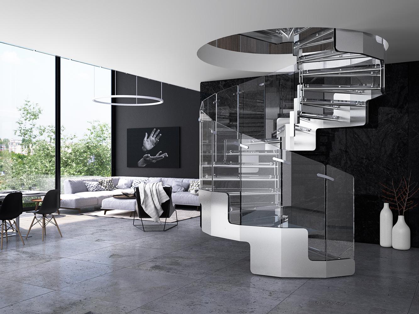 Scale in acciaio a giorno modello joy executive - Casa in acciaio e vetro ...